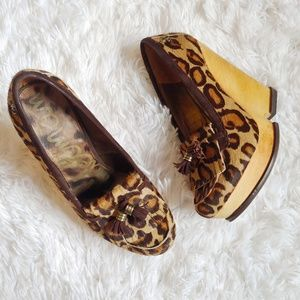 Sam Edelman Leopard Calf Hair Wesley Wedges
